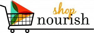 Shop Nourish Logo (Shopping Cart and Tagline)