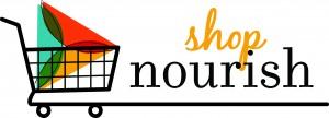 Shop Nourish Logo (Shopping Cart and Tagline)